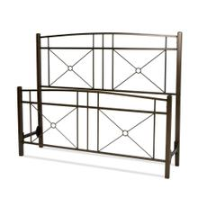 See Details - Russett Metal Headboard and Footboard Bed Panels with Modest Sloping Top Rails, Liquid Bronze Finish, Queen