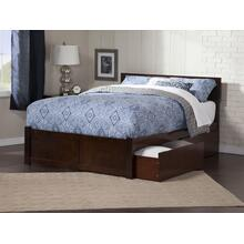 Orlando Queen Flat Panel Foot Board with 2 Urban Bed Drawers Walnut