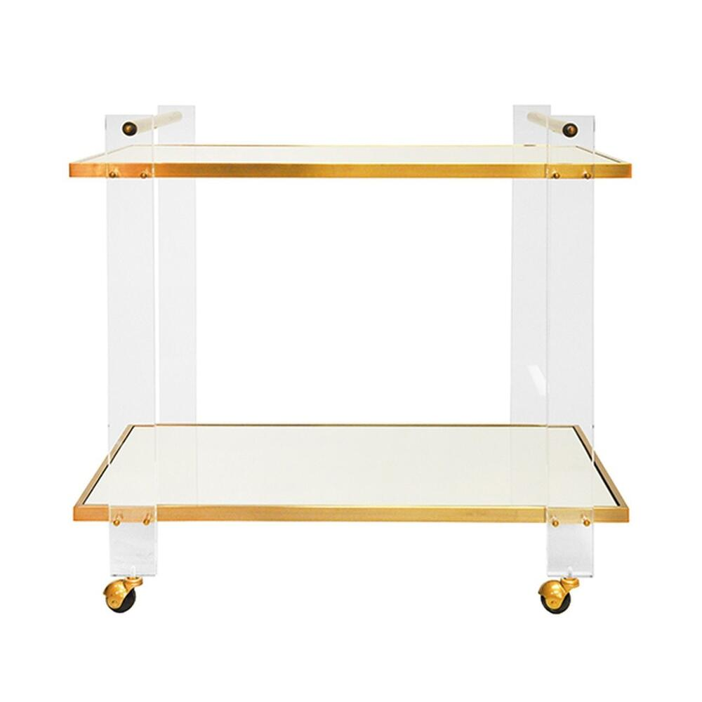 Elevate Your Bar Cart Game With Pierce! Two Inset Mirror Shelving Tiers Are Defined By an Antique Brass and Acrylic Frame. the Mix of Materials Here Is So On-trend, Yet So Timeless, You'll Want To Build the Room's Entire Finish Palette Around It.