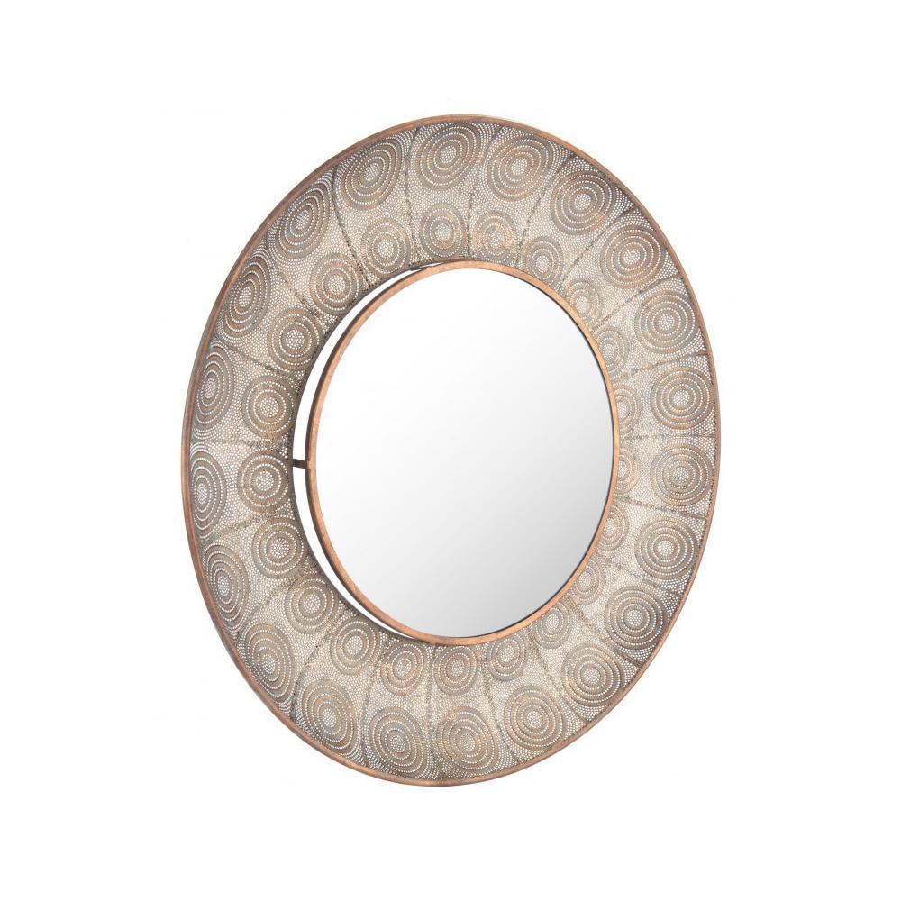 Avila Lg Round Mirror Antique Gold