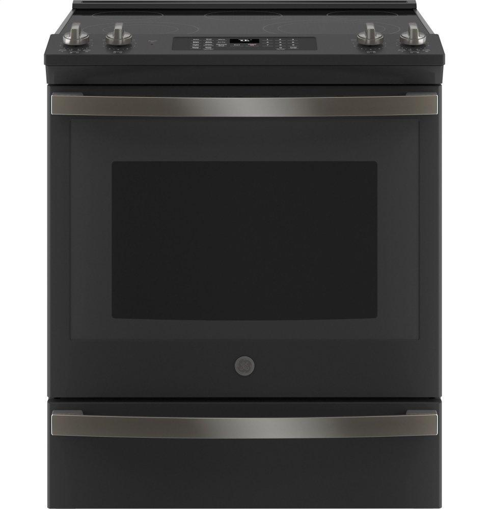 """GE30"""" Slide-In Electric Convection Range With No Preheat Air Fry"""