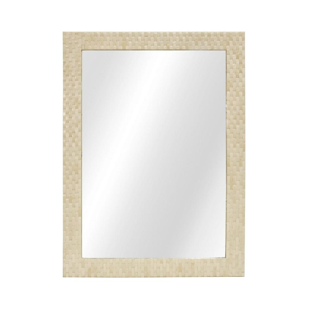A Perfect and Versatile Accessory for Many Styles and Spaces, the Rectangular Brooklyn Mirror Features A Basketweave Patterned Frame In Natural Bone. A Must-have for the Detail Obsessed Designer and Client Alike!