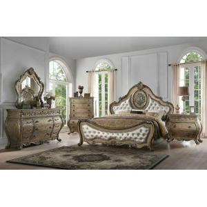 ACME Ragenardus Queen Bed - 26310Q - PU & Vintage Oak