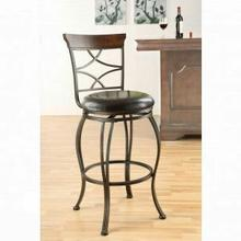 "ACME Tavio Bar Chair w/Swivel (Set-2) - 96050 - Espresso PU & Antique Bronze - 29"" Seat Height"