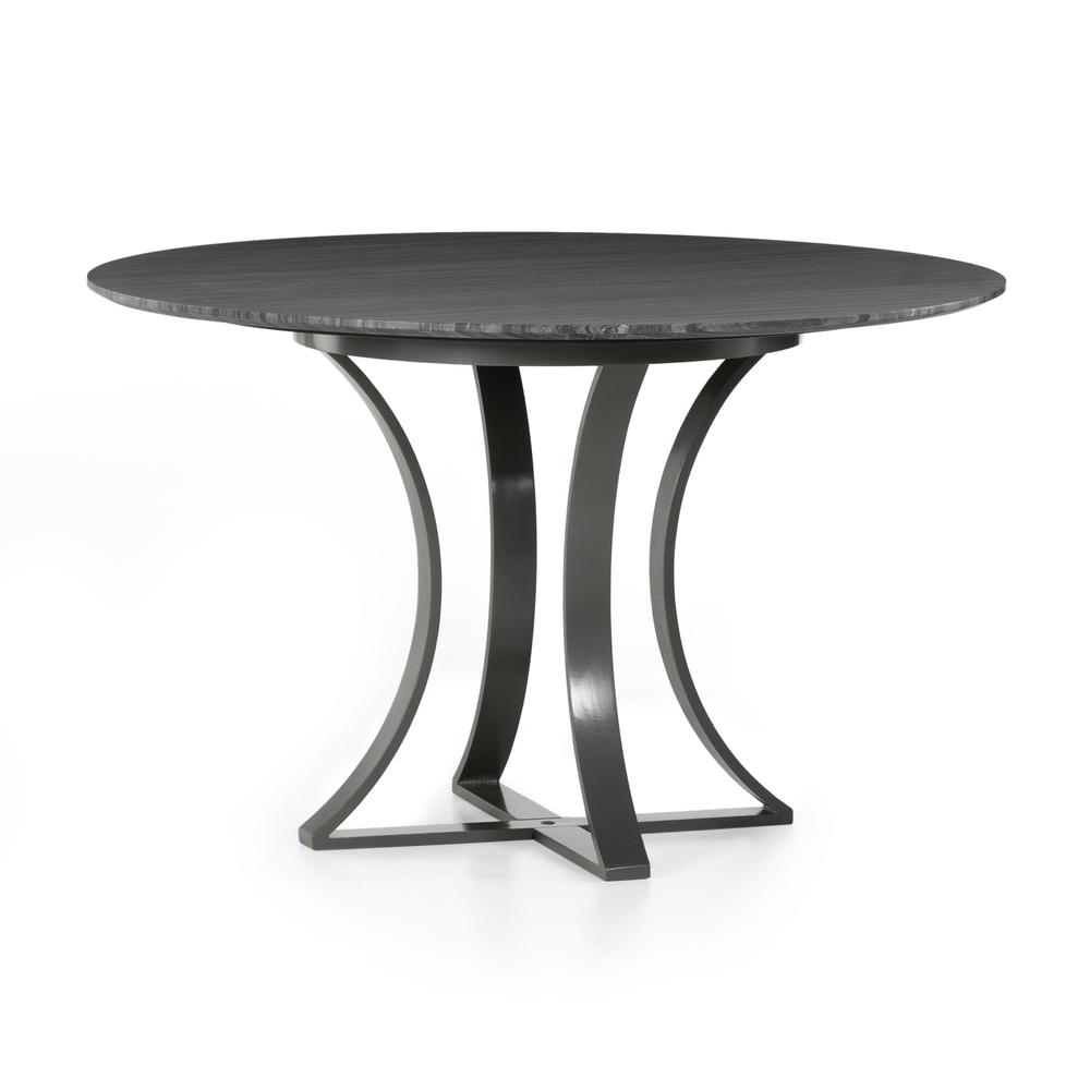 """Dark Grey Marble Finish 48"""" Size Gage Dining Table"""