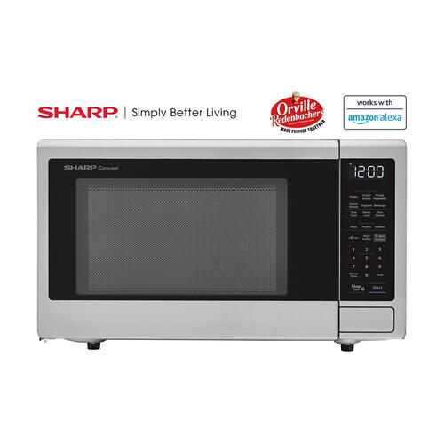 View Product - 1.4 cu. ft. 1000W Sharp Stainless Steel Smart Carousel Countertop Microwave Oven