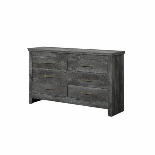 ACME Vidalia Dresser - 27325 - Rustic - Wood (Solid Pine), Veneer (Melamine/Paper), MDF, PB - Rustic Gray Oak