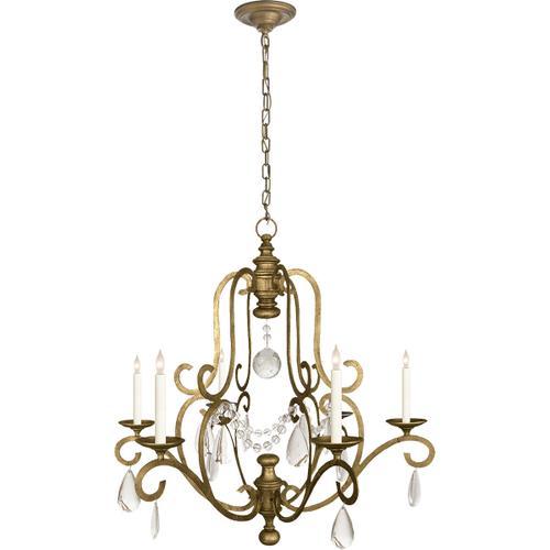 Visual Comfort - E. F. Chapman Piedmont 6 Light 32 inch Gilded Iron Chandelier Ceiling Light