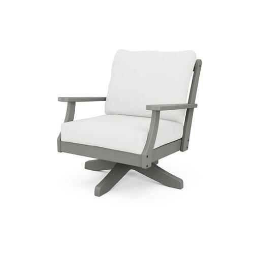 Slate Grey & Textured Linen Braxton Deep Seating Swivel Chair