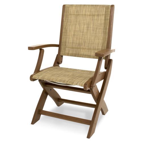 Teak & Burlap Coastal Folding Chair