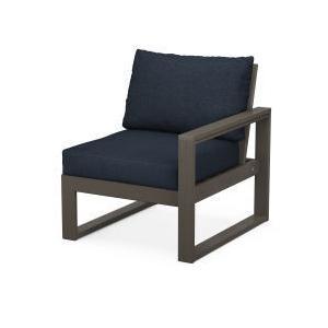 Polywood Furnishings - EDGE Modular Right Arm Chair in Vintage Coffee / Marine Indigo