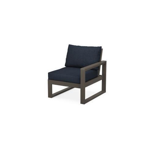 EDGE Modular Right Arm Chair in Vintage Coffee / Marine Indigo
