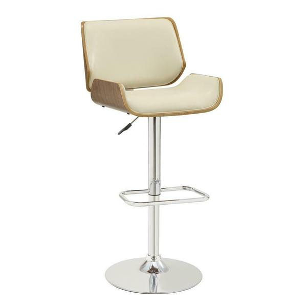See Details - Contemporary Ecru Adjustable Height Bar Stool