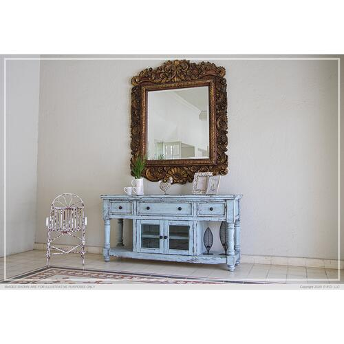 "70"" TV Stand, w/3 Drawers & 2 Doors, in Sky Blue Finish"