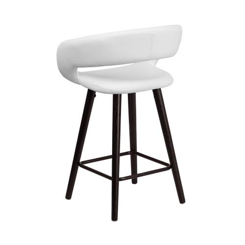 24'' High Contemporary Cappuccino Wood Counter Height Stool in White Vinyl
