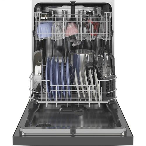 GE® Front Control with Stainless Steel Interior Dishwasher with Sanitize Cycle & Dry Boost