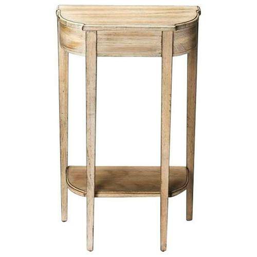 Butler Specialty Company - A spot of elegance for a small space, this Console table's harmonious design begins with the slender legs, gracefully tapered. The beautiful symmetry of tabletop and bottom shelf adds to the effect, which is consummated with the airy Dirftwood finish on the cherry veneer.