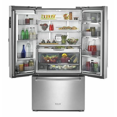 """KitchenAid - 23.8 cu. ft. 36"""" Counter-Depth French Door Refrigerator - Stainless Steel"""