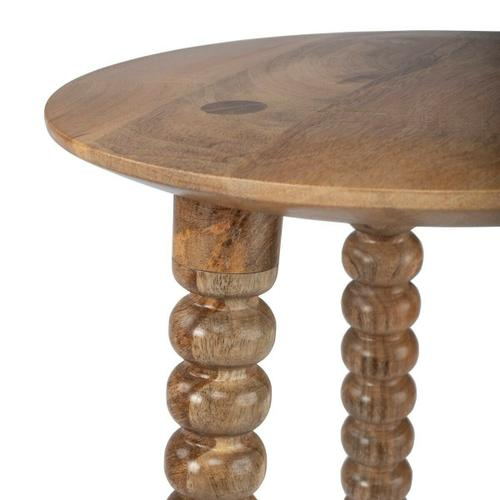 A tripod of magnificently carved and tapered legs and well-rounded top imbue this Accent Table with a lot of style. Crafted from solid wood and wood products in a warm, brown finish.