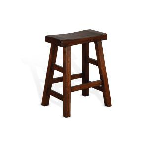 "Sunny Designs - 24""H Santa Fe Saddle Seat Stool, Wood Seat"