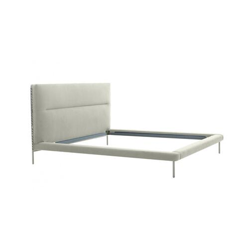 VIG Furniture - Modrest Bergeron - Contemporary Cream Woven Fabric Bed