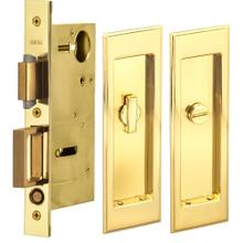 Pocket Door Lock with Traditional Rectangular Trim featuring Turnpiece and Emergency Release in (US3 Polished Brass, Lacquered)