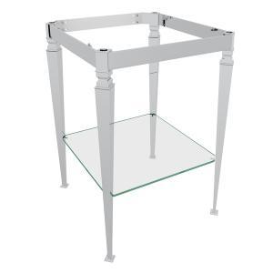 Polished Chrome Deco Wash Stand With Glass Shelf Product Image