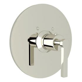 Lombardia Thermostatic Trim Plate without Volume Control - Polished Nickel with Metal Lever Handle