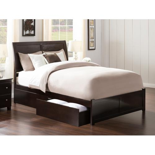 Atlantic Furniture - Portland Queen Flat Panel Foot Board with 2 Urban Bed Drawers Espresso