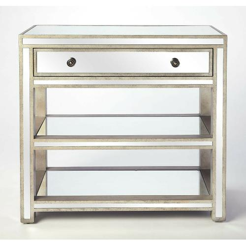 Butler Specialty Company - A console and chest all wrapped into one...This piece offers the best of both! A spacious drawer for storage and open shelves for displaying your favorite things. The mirror finish brings reflected light into every space and is finished in an antique gold tone to add a chic elegant look.