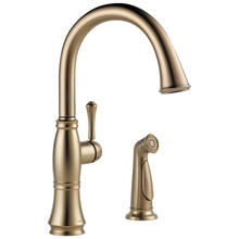 Champagne Bronze Single Handle Kitchen Faucet with Spray