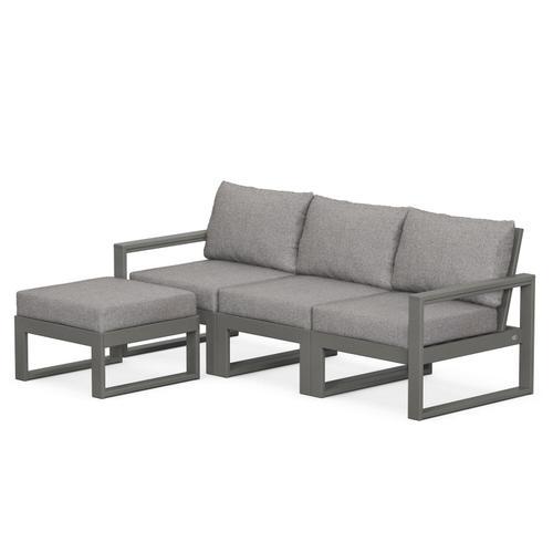 Polywood Furnishings - EDGE 4-Piece Modular Deep Seating Set with Ottoman in Slate Grey / Grey Mist