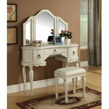 ACME Trini Vanity Desk & Stool - 90024 - White