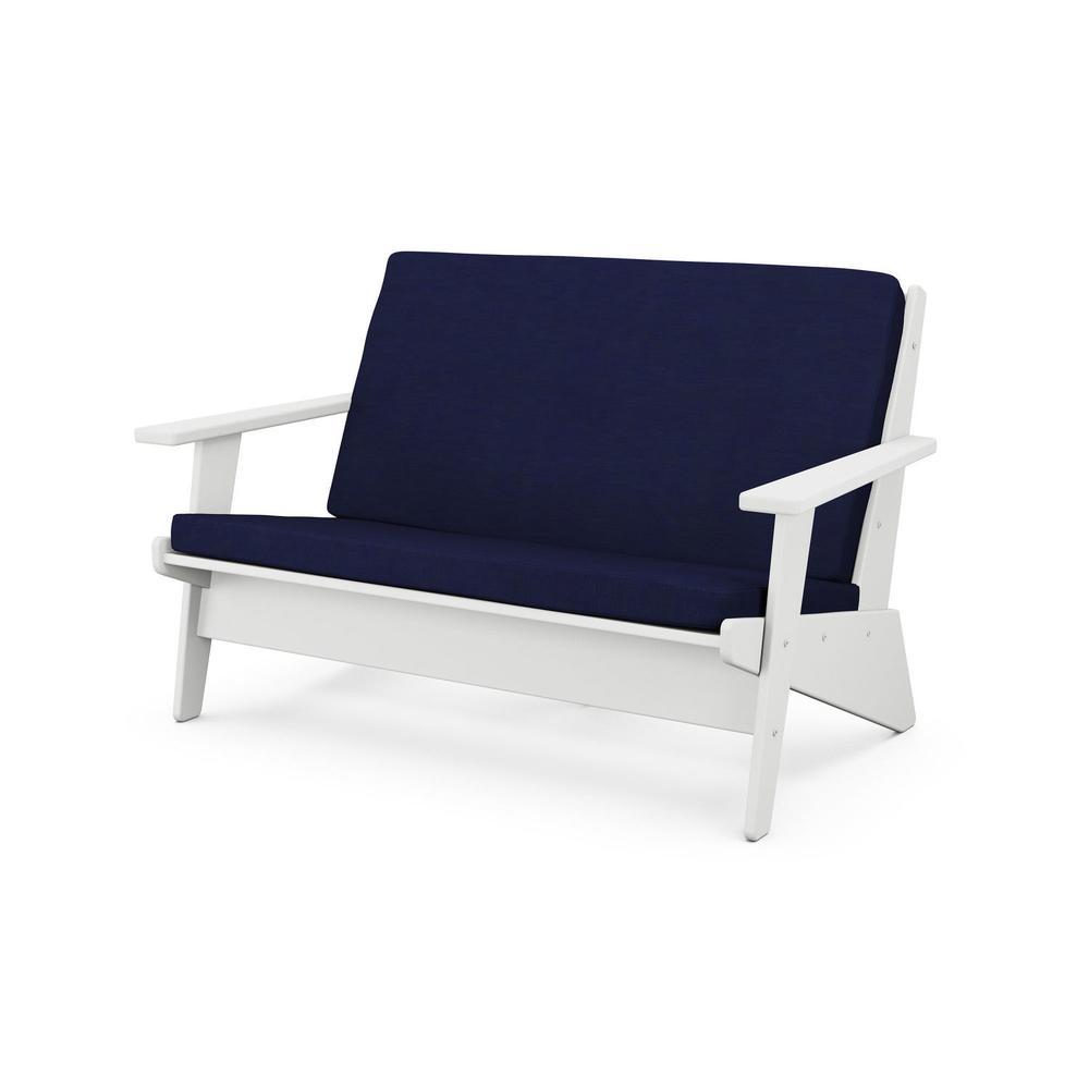 White & Navy Riviera Modern Lounge Settee