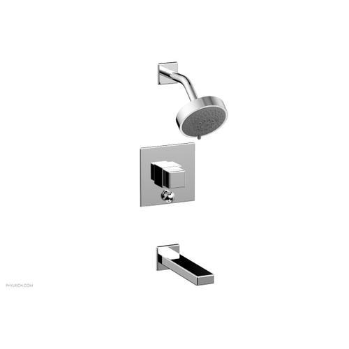 MIX Pressure Balance Tub and Shower Set - Cube Handle 290-29 - Polished Chrome
