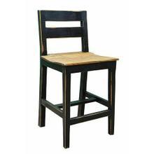 See Details - 24in S Brown Wood Seat Barstool