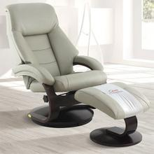 Mandal Recliner & Ottoman in Putty Top Grain Leather