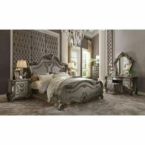 ACME Versailles California King Bed - 26854CK - Antique Platinum