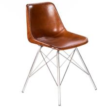See Details - Mid-century modern with a contemporary twist: this go-everywhere molded chair form gets an upgrade with a stitched leather cover and sturdy silver iron frame. Think home office, dining room or dorm!