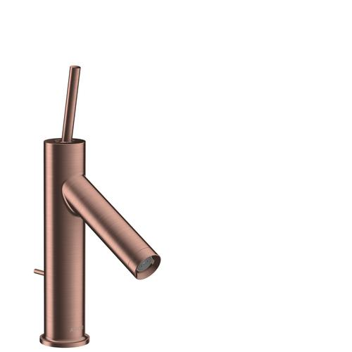 Brushed Red Gold Single lever basin mixer 90 with pin handle and pop-up waste set