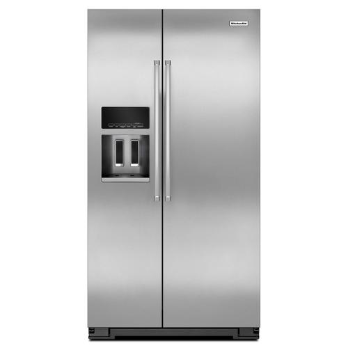 20 Cu. Ft. Counter Depth Side-by-Side Refrigerator with Exterior Ice and Water Monochromatic Stainless Steel
