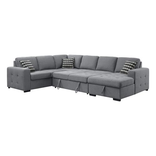 Gallery - 4-Piece Sectional with Pull-out Bed and Hidden Storage