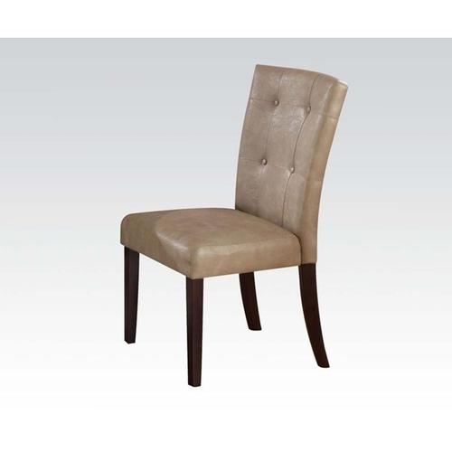 WALNUT SIDE CHAIR W/CREAM PU