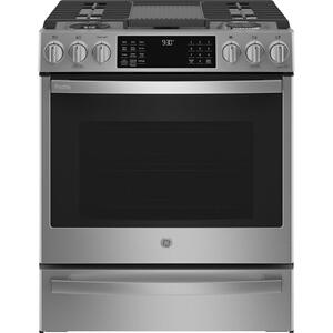 "GEGE Profile™ 30"" Smart Slide-In Front-Control Gas Fingerprint Resistant Range with No Preheat Air Fry"