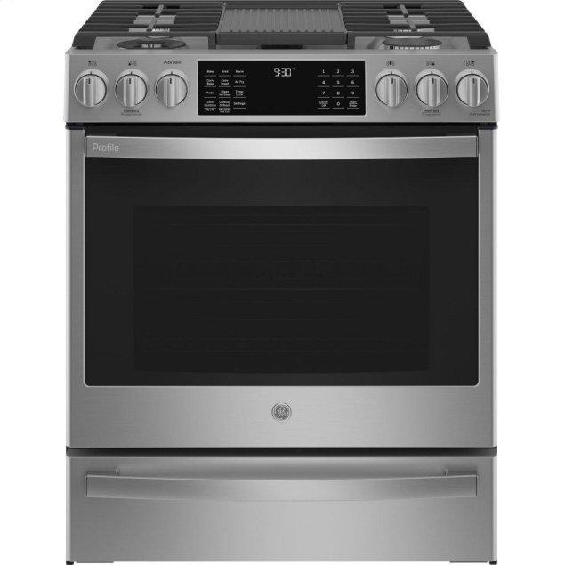 "GE GE Profile™ 30"" Smart Slide-In Front-Control Gas Fingerprint Resistant Range with No Preheat Air Fry"