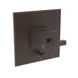 English Bronze Balanced Pressure Tub & Shower Diverter Plate with Handle