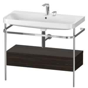Furniture Washbasin C-shaped With Metal Console Floorstanding, Brushed Walnut (real Wood Veneer)