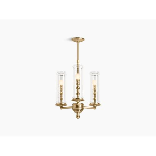 Modern Brushed Gold Three-light Chandelier