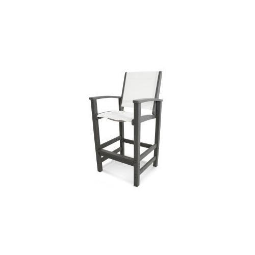 Polywood Furnishings - Coastal Bar Chair in Slate Grey / Burlap Sling