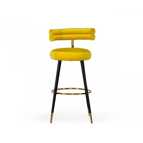 VIG Furniture - Modrest Nassau Modern Glam Yellow with Black & Gold Barstool